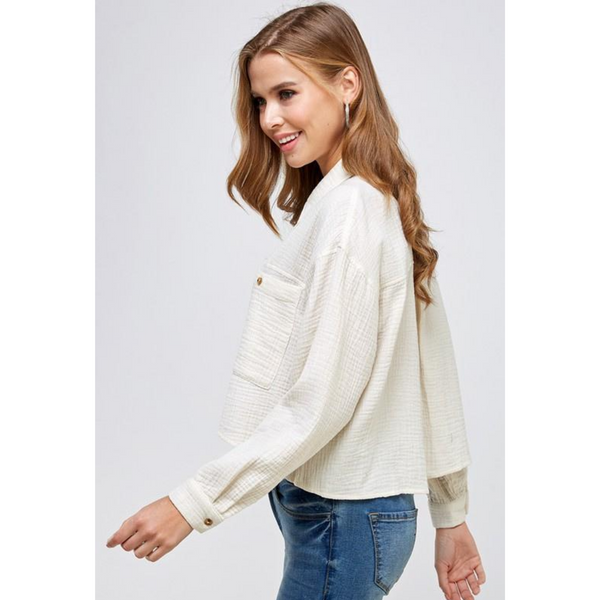 Gauze Button Down Cropped Blouse