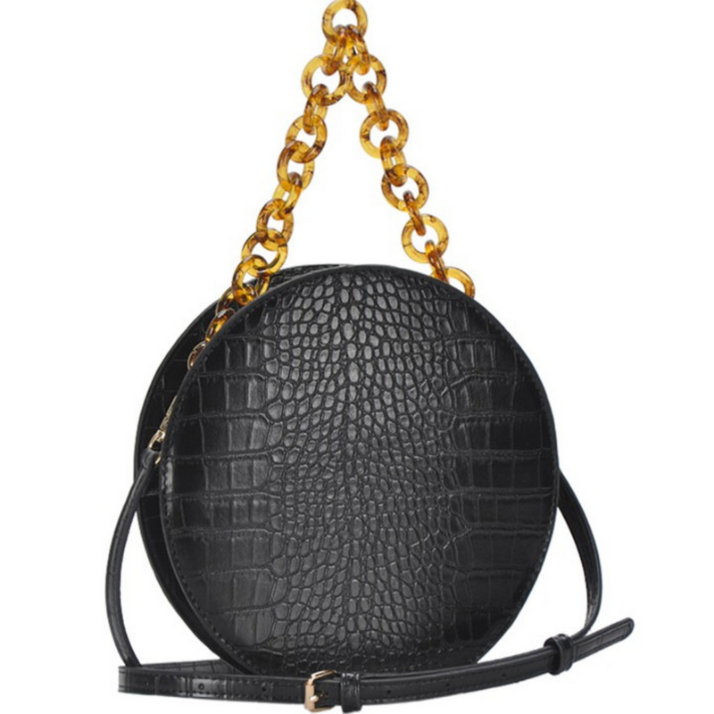 Black Vegan Crocodile Circle Shoulder Bag - Shop trendy womenswear styles on www.downerss.com