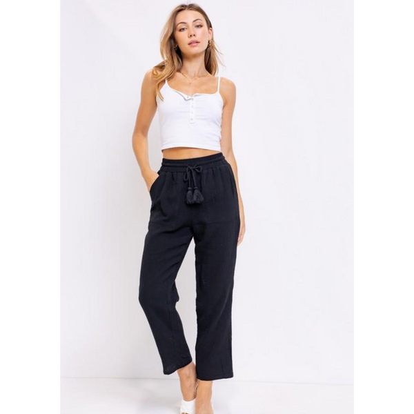 Black Cotton Gauze Tassel Pant