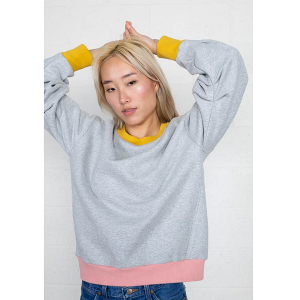 Color Block Crew Neck Pullover