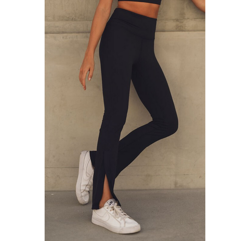 Solid Split Flare High-Waisted Leggings