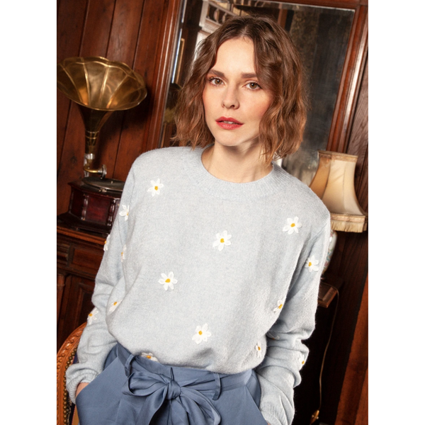 Daisy Blue Knit Sweater