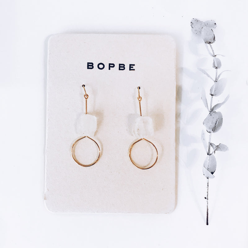 crystal quartz rough earrings // bopbe - Shop trendy womenswear styles on www.downerss.com