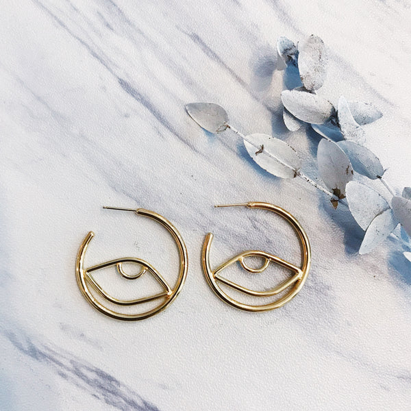 gold cleo hoops