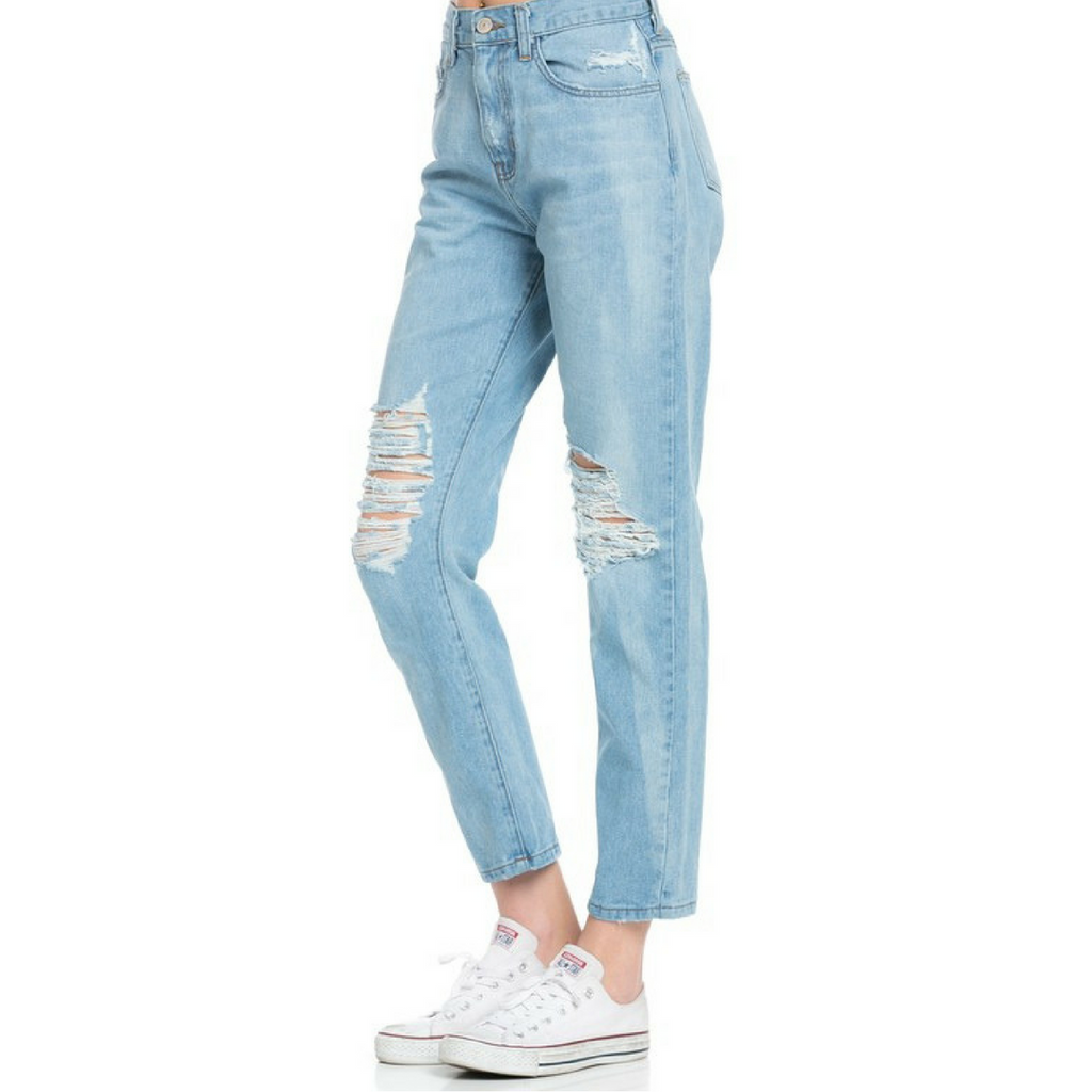 slightly distressed mom jeans