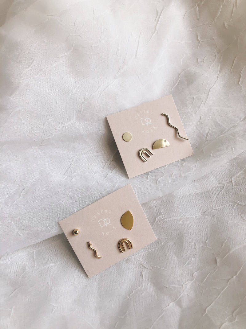 Small Mix + Match Stud Earrings - Sterling Silver