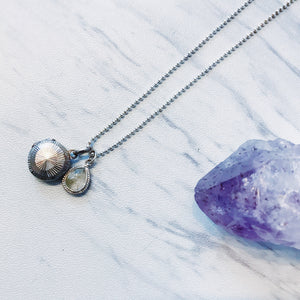 sterling silver vintage locket + quartz drop