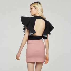 mauve lace-up skirt - Shop trendy womenswear styles on www.downerss.com