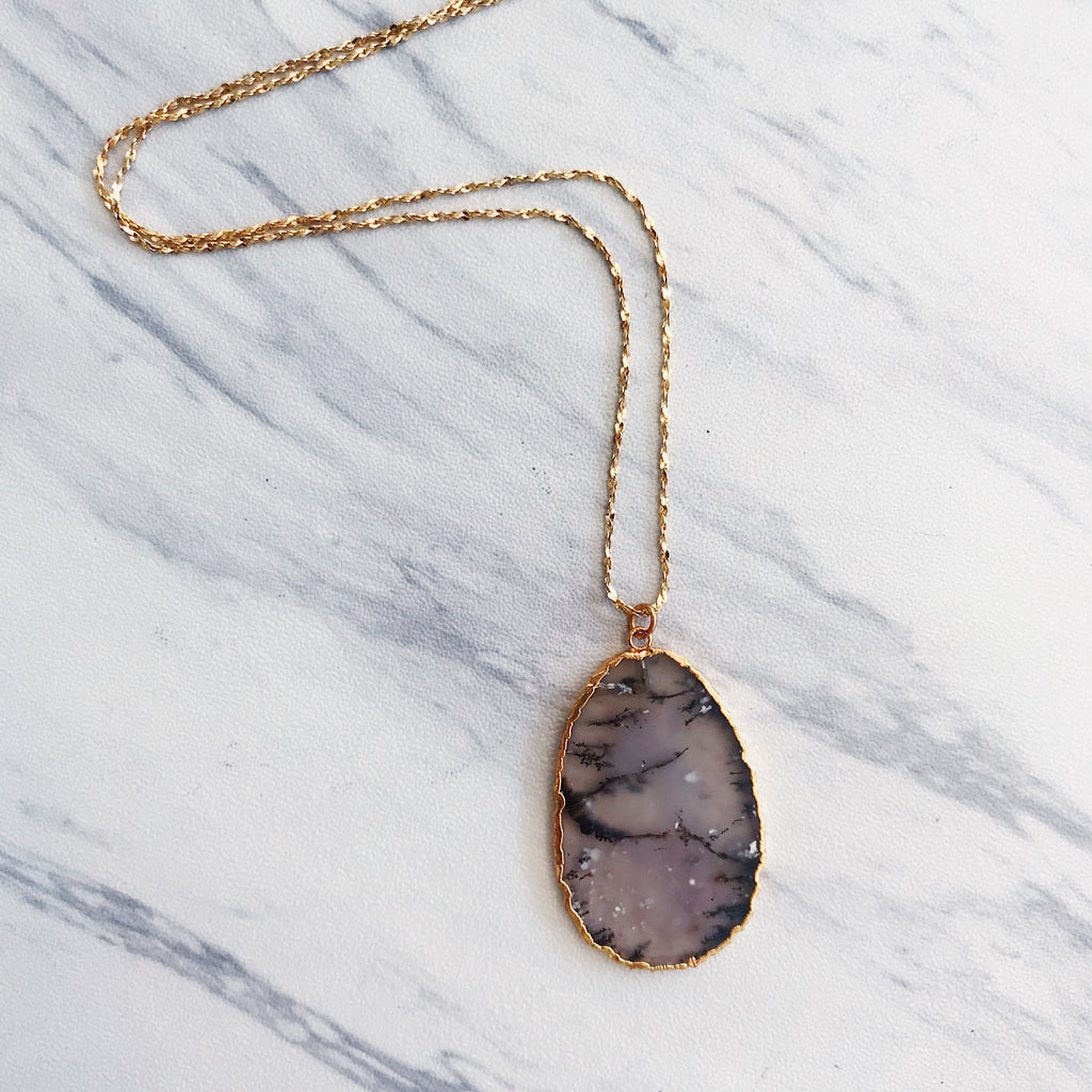 Dendritic Agate Slice + Gold Plated Vintage Chain - Shop trendy womenswear styles on www.downerss.com