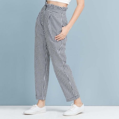 high-waisted gingham trousers