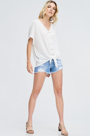 front tie tee // white - Shop trendy womenswear styles on www.downerss.com