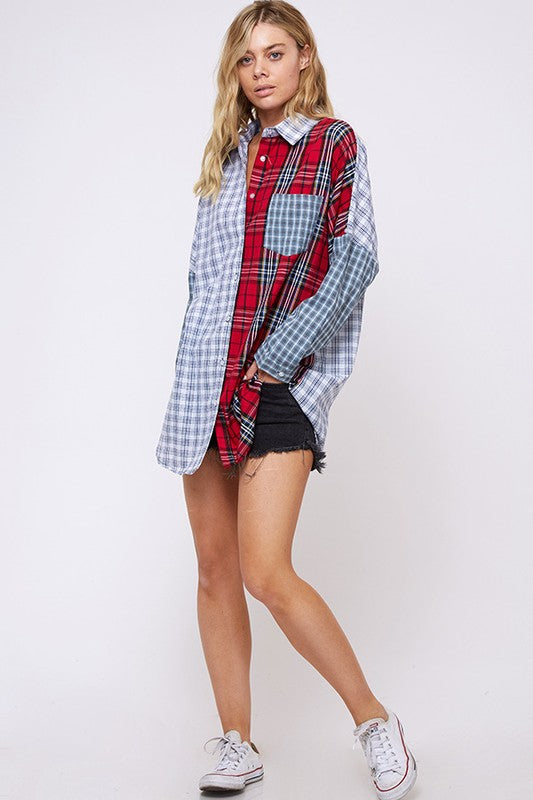 mixed plaid print button up
