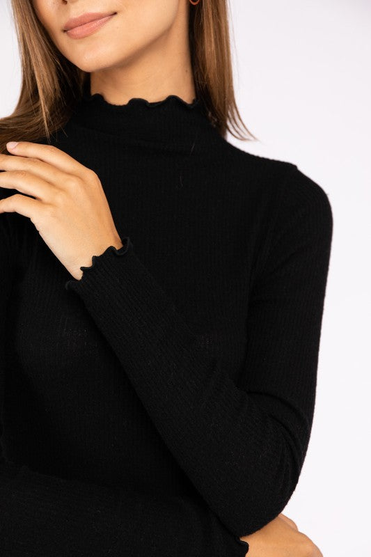Black Mock Neck Long Sleeve - Shop trendy womenswear styles on www.downerss.com