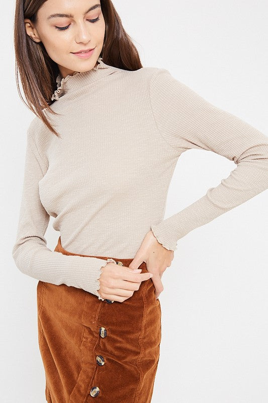 Stone Ribbed Mock Neck Top
