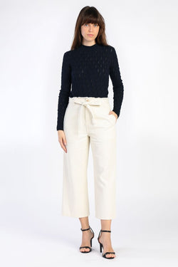 Bone Denim Cropped Waist Tie Pants