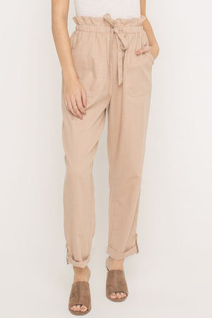 high-waist tie khaki pants