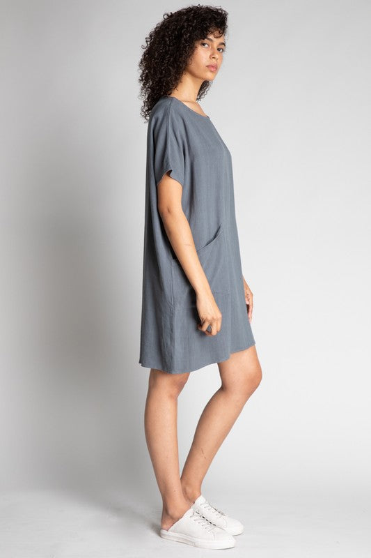 Gray Linen Tunic Dress