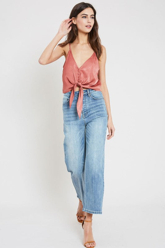 ginger satin button down tank top