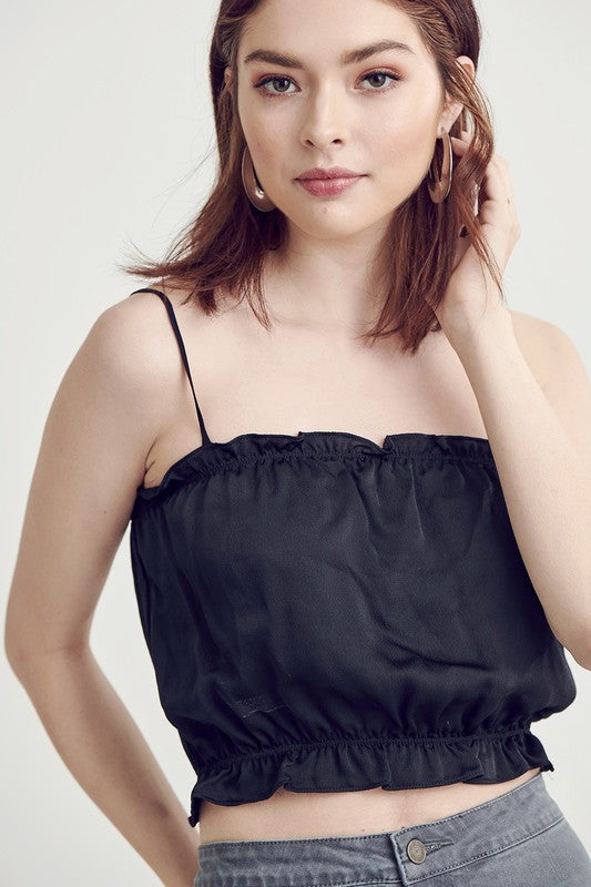 black satin ruffle crop top - Shop trendy womenswear styles on www.downerss.com