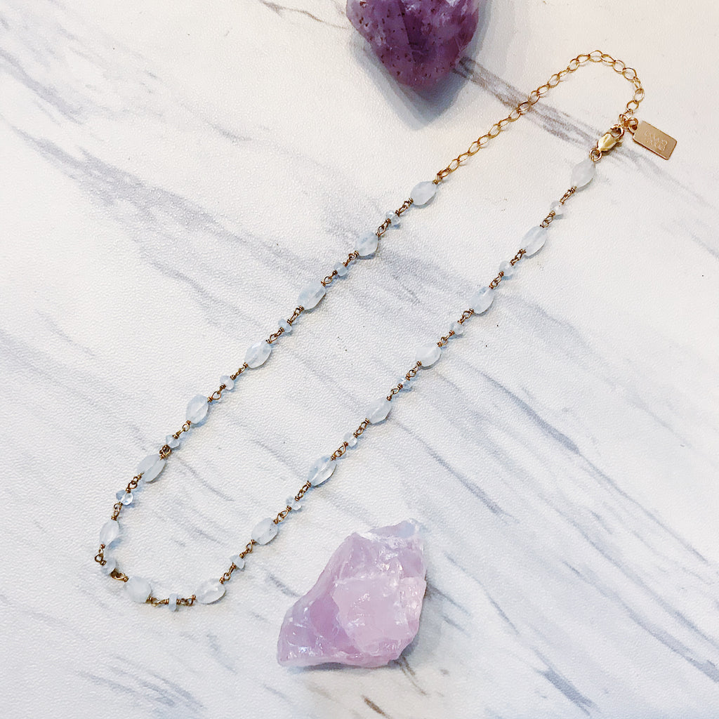 quartz & gold wire choker