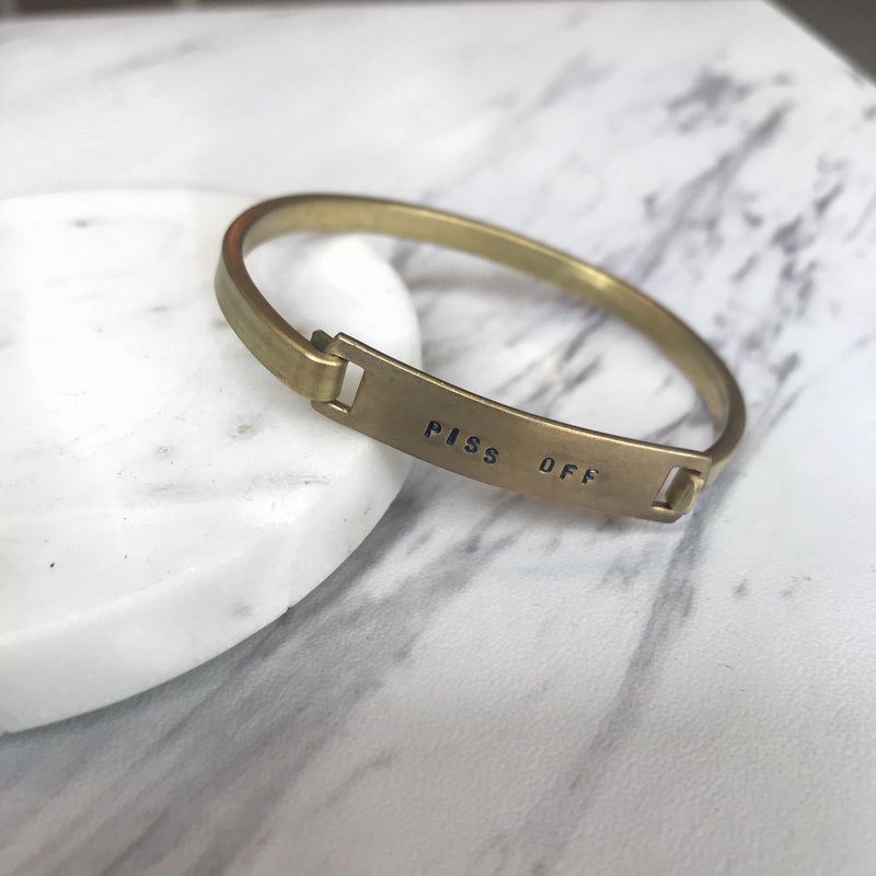 piss off // brass bracelet - Shop trendy womenswear styles on www.downerss.com