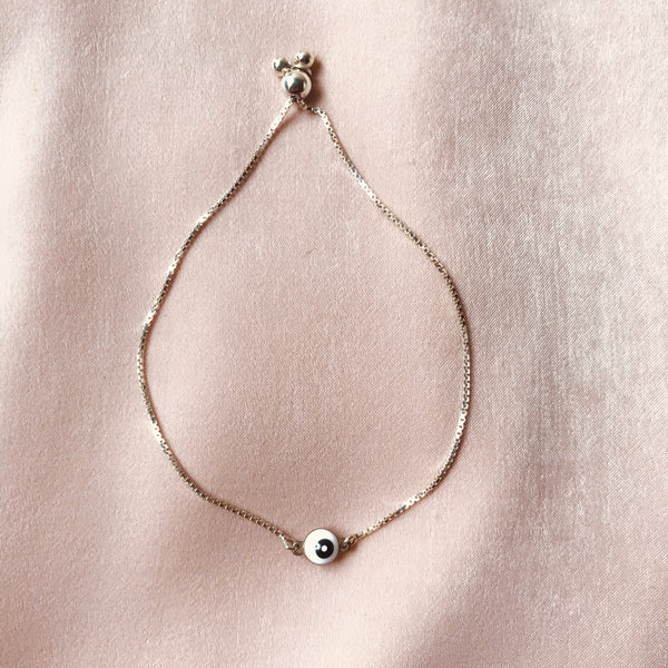 White Evil Eye Silver Slider Bracelet