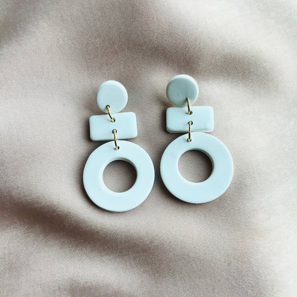 White Mini Dangle Earrings