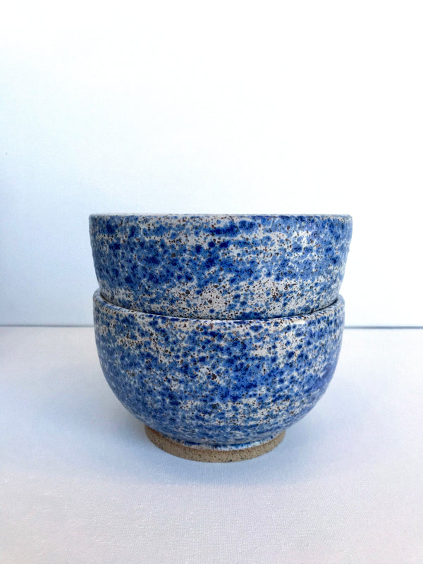 Blue Splatter Bowl - Cloud 9 Clay