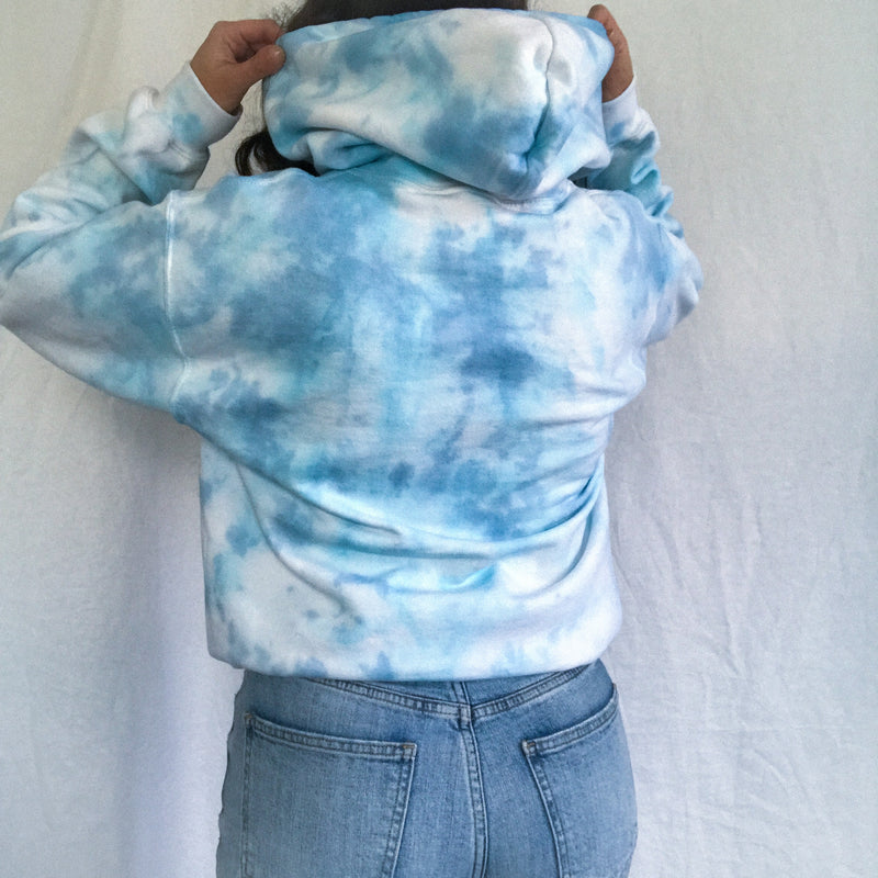 Sky Blue Tie Dye Cloud Hoodie - Small