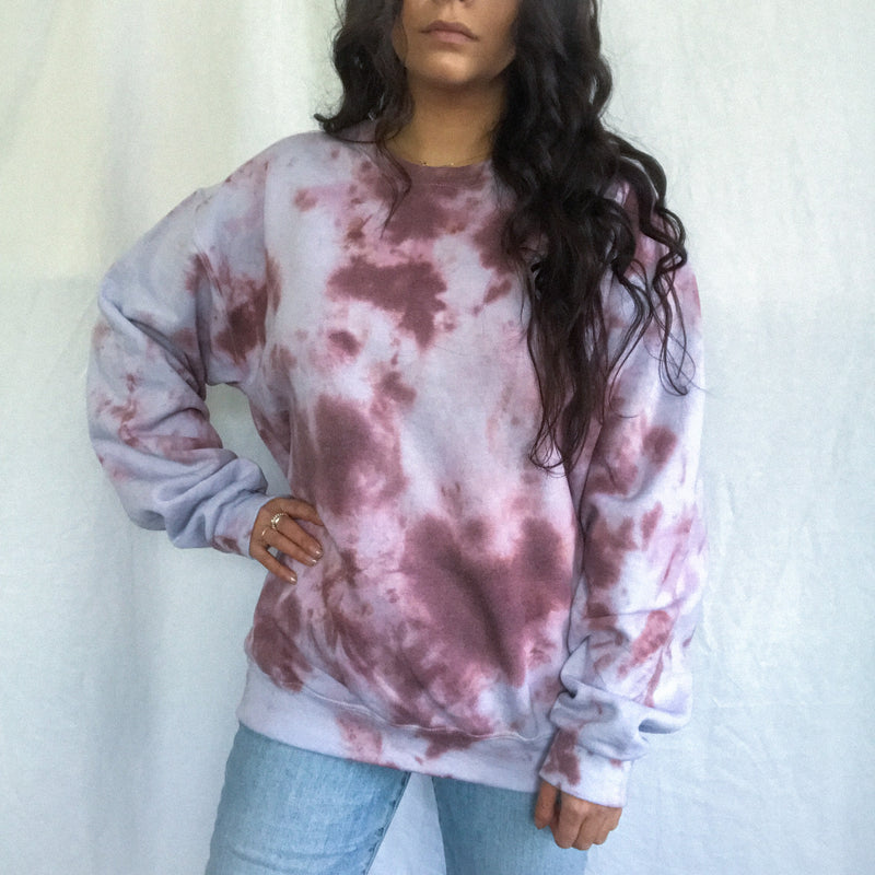 Blue-ish Clay Cloud Tie Dye Crew Neck - Medium