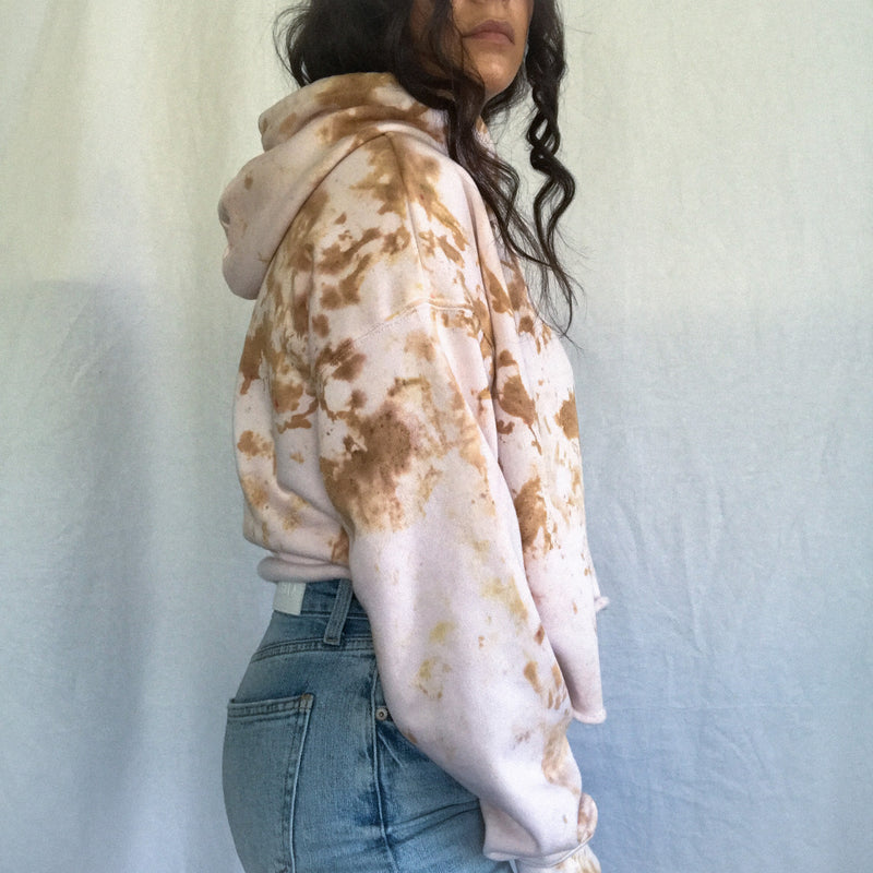 Transparent Pink & Brown Cloud Tie Dye Hoodie
