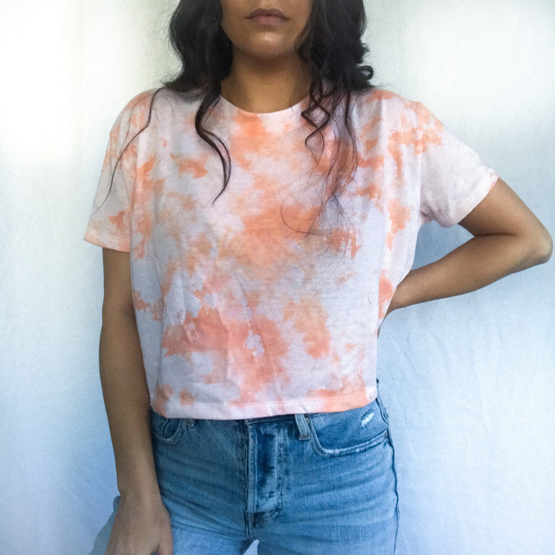 Orange Sherbert Cloud Tie Dye T-Shirt - M