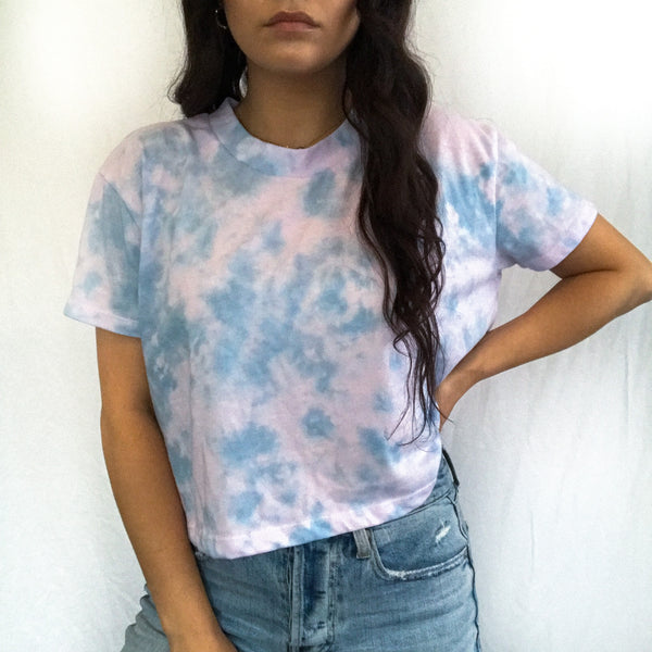 Cotton Candy Cloud Tie Dye Crop Tee  - M + L