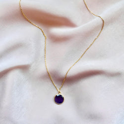 Round Amethyst Gold Necklace