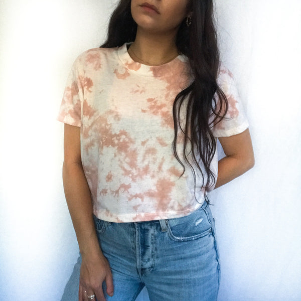 Warm Tan Cloud Tie Dye Tee  - S + M