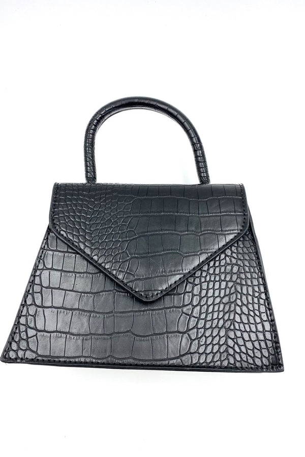 Mini Black Top Handle Bag - Vegan Crocodile Leather