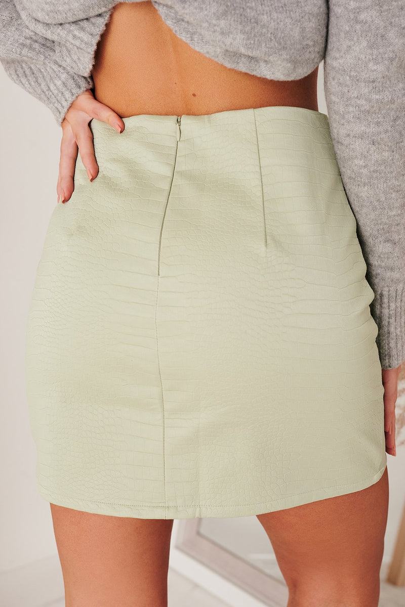 Pistachio Vegan Leather Mini Skirt