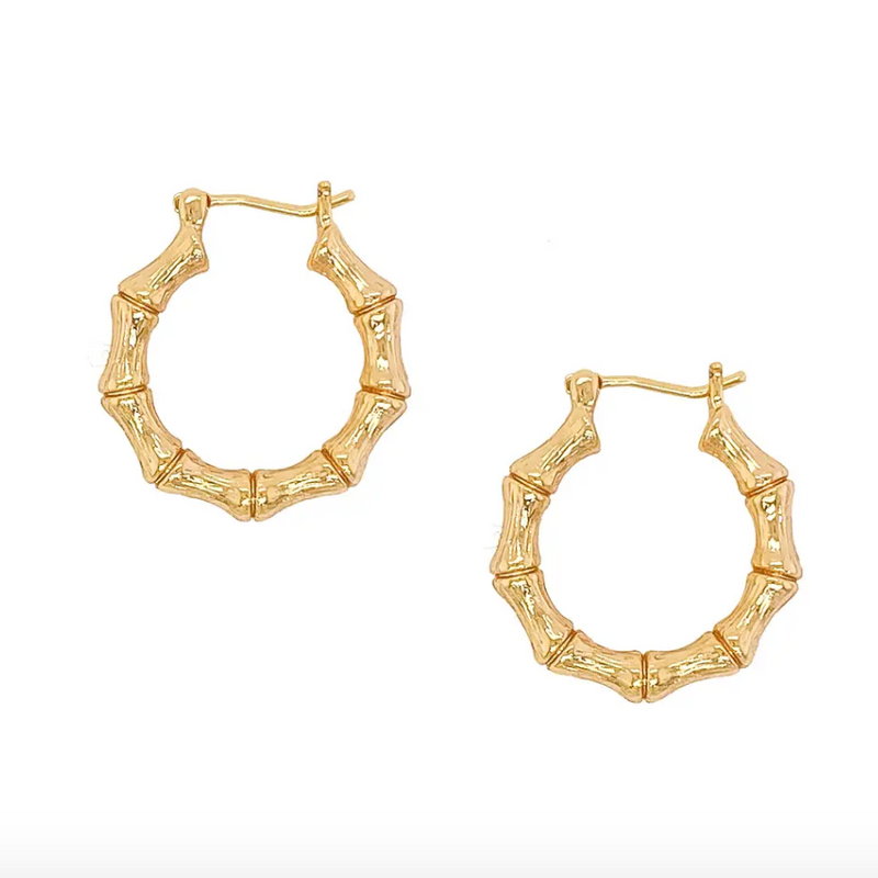 Gold Filled Bamboo Hoops