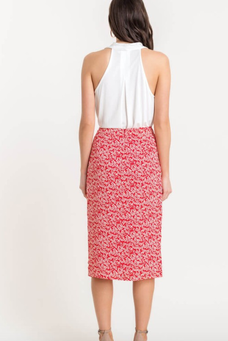 Red Ruched Ruffle Skirt