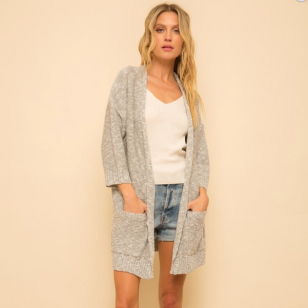 Textured Light Gray Cardigan