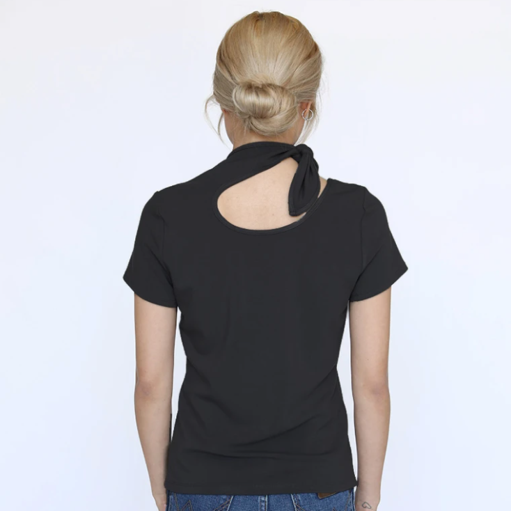 Black Modern Neck Tie Top