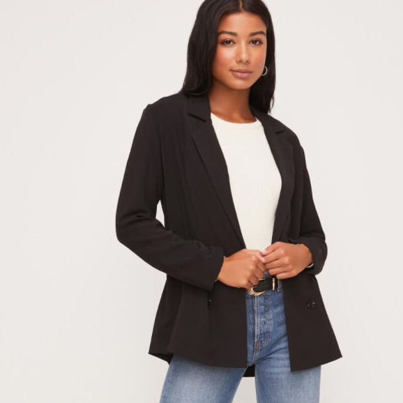 Black Front Button Long Sleeve Blazer