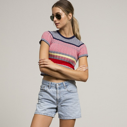 Multi Stripe Tight Knit Crop Top