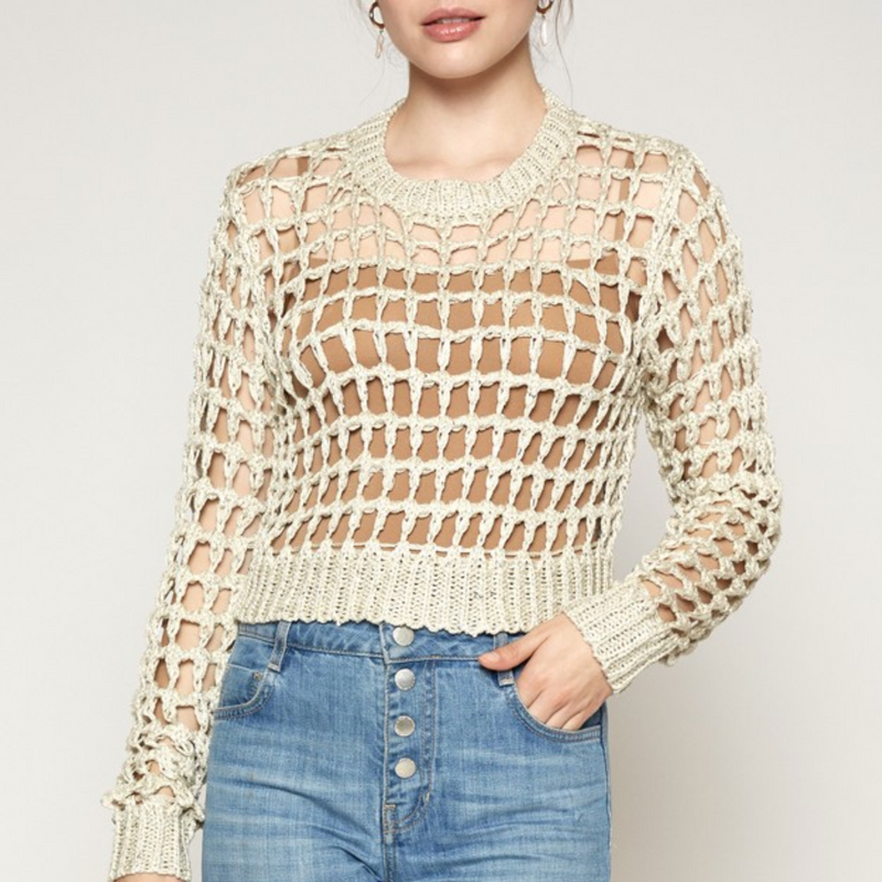Gold Sparkle Crotchet Cage Knit Sweater