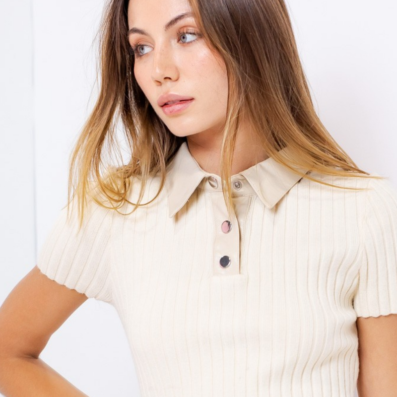 Leather Collar Short Sleeve Polo Shirt