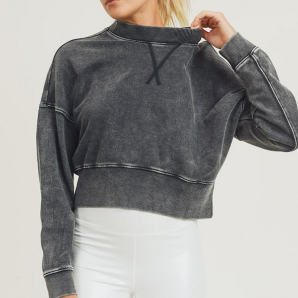 Mineral Wash Fleece Crop Pullover