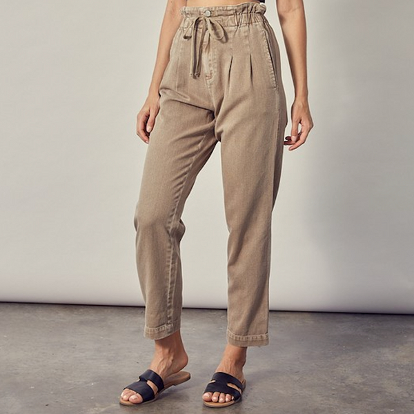 Light Brown Denim Paper Bag Pants