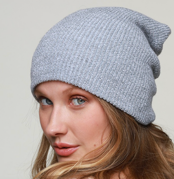 light gray slouchy beanie
