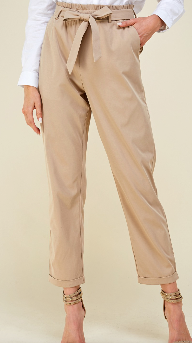 Belted Khaki High Waisted Pants
