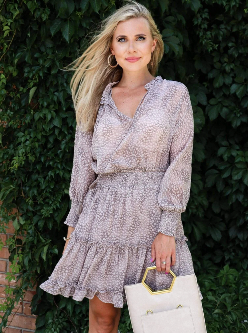 Taupe Spotted Smocked Waist Dress